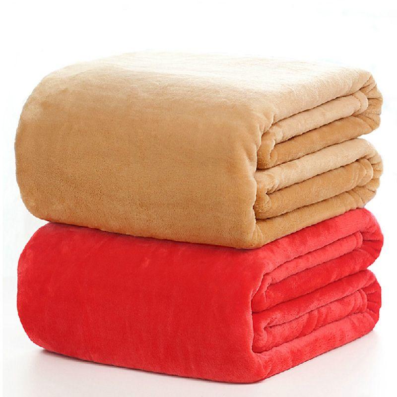 Фланель сплошной цвет Одеяло диван Постельное белье бросает мягкие пледы плоской простыня 150*200 см 180*200 см 200*230 см 220x240 см