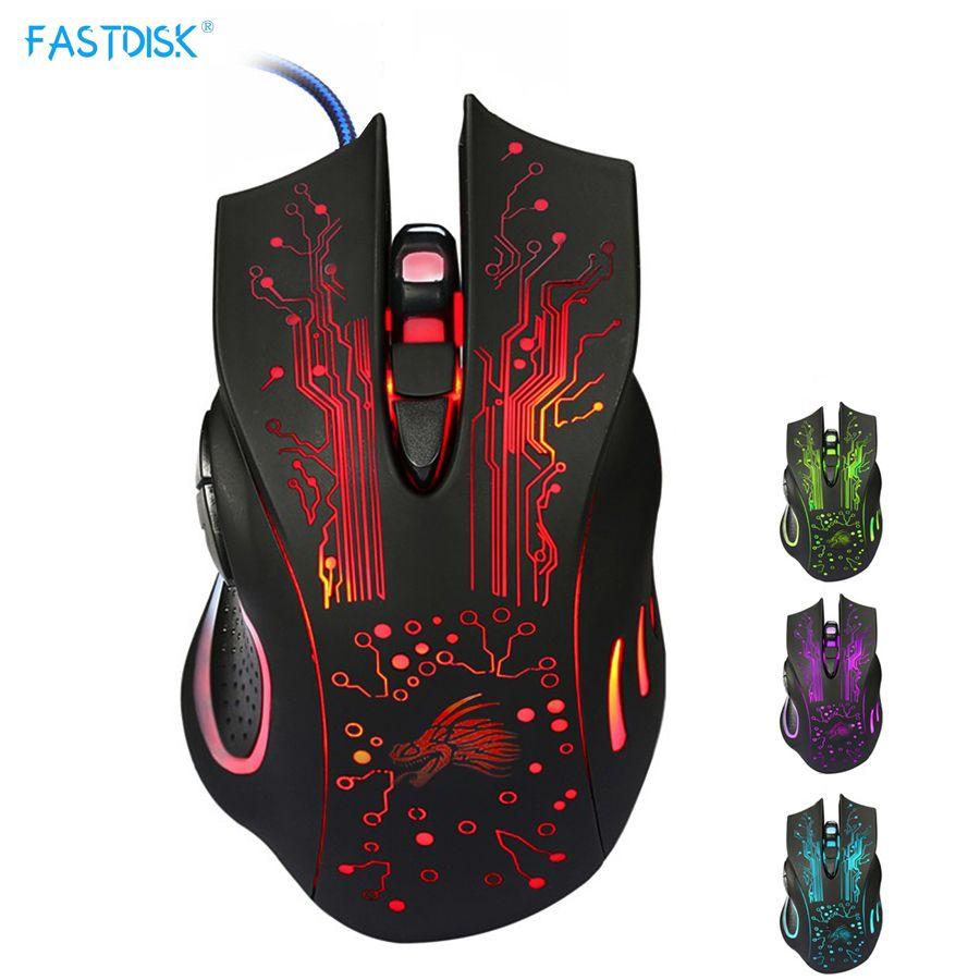 Souris de jeu FASTDISK 6 boutons souris professionnelle PC ordinateur portable souris Gamer lumière variable 5000 dpi USB souris optique