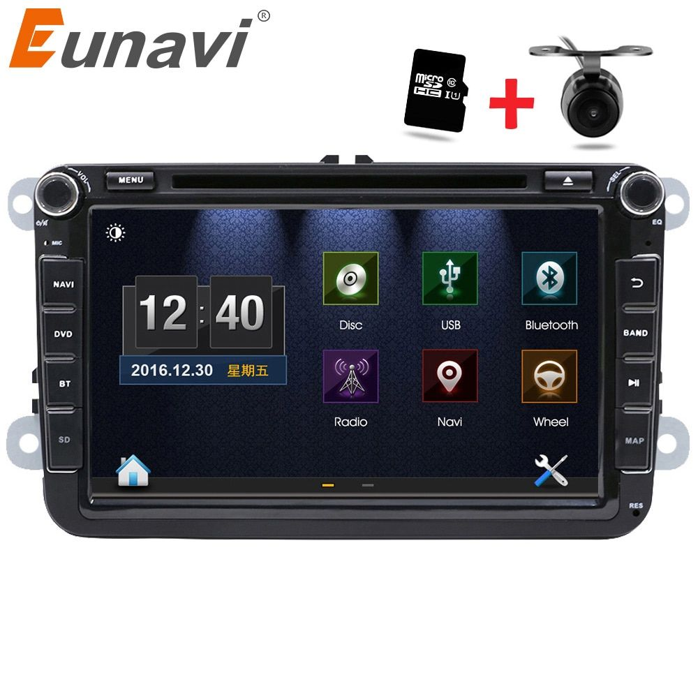 Eunavi 2 Din 8 inch car dvd for VW POLO GOLF MK5 MK6 PASSAT B6 JETTA TOURAN TIGUAN With GPS Navigation Radio SWC Bluetooth