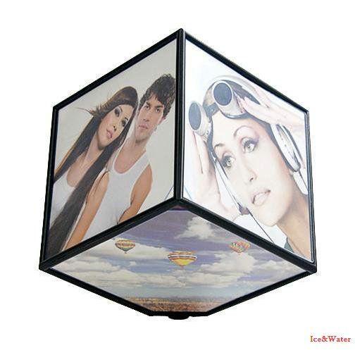 Cadre Photo créatif à Six faces/Cube de personnalité électrique cadre rotatif en trois dimensions à 360 degrés KK111