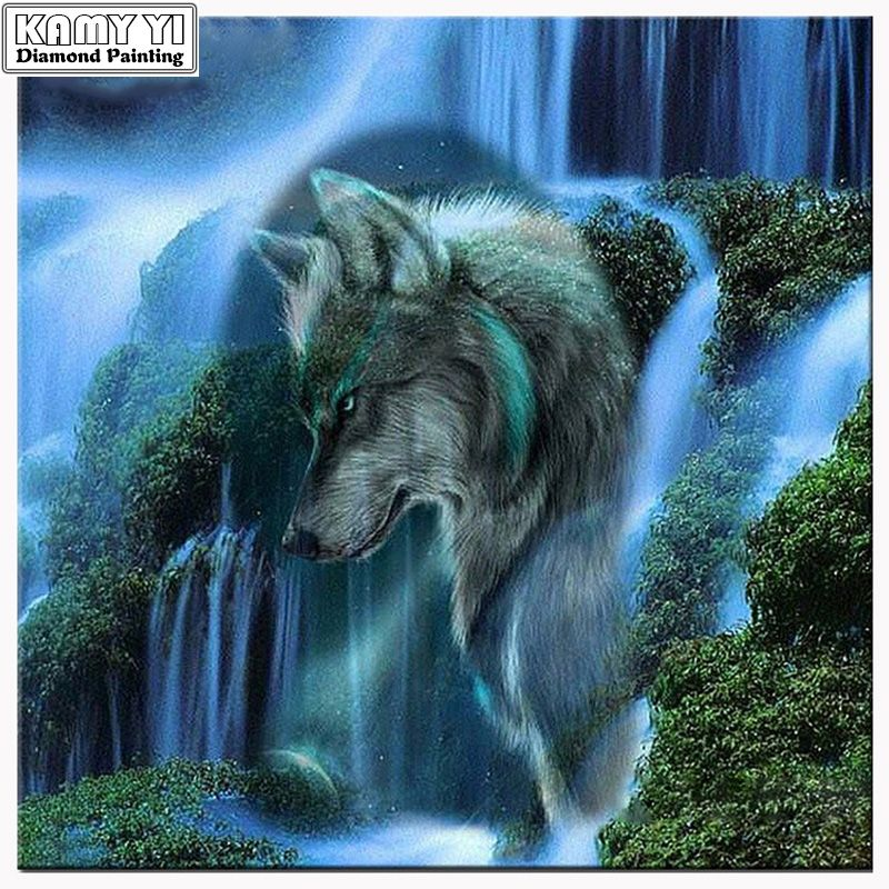 Zhui Star Diy Diamond Painting Cross Stitch Kits Full Diamond Embroidery waterfall Wolf Needlework Diamond Mosaic Home Decor