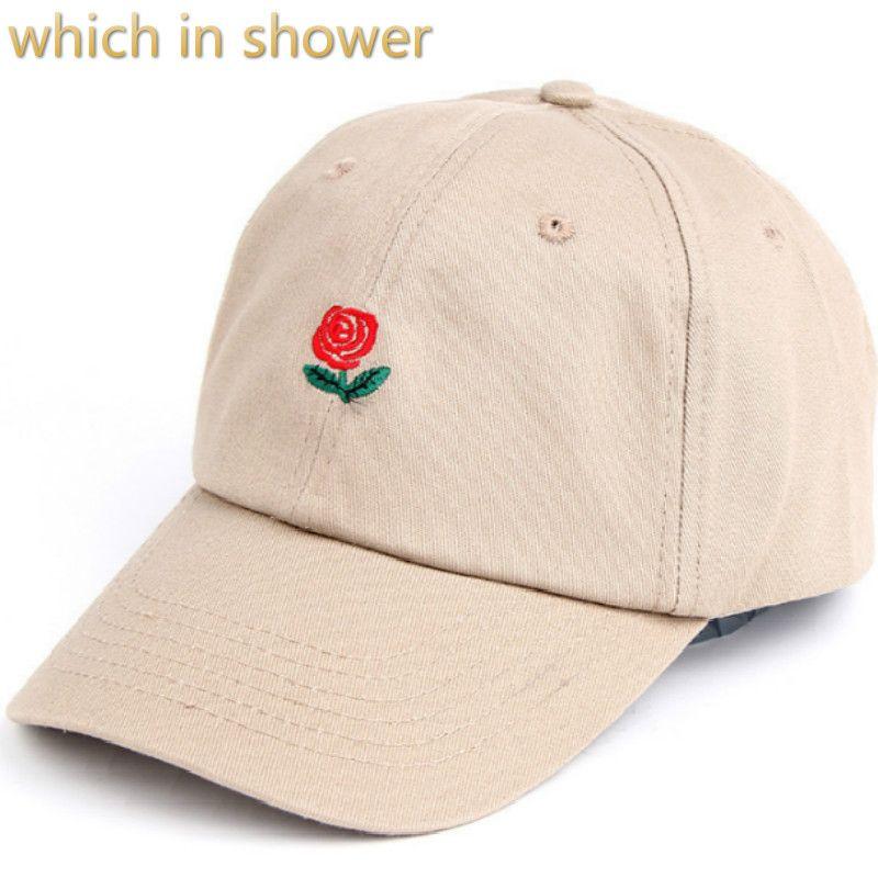 Qui dans la douche coton rose papa chapeau pour femmes hommes réglable fleur casquette de baseball broderie snapback chapeau courbée en été sunhat