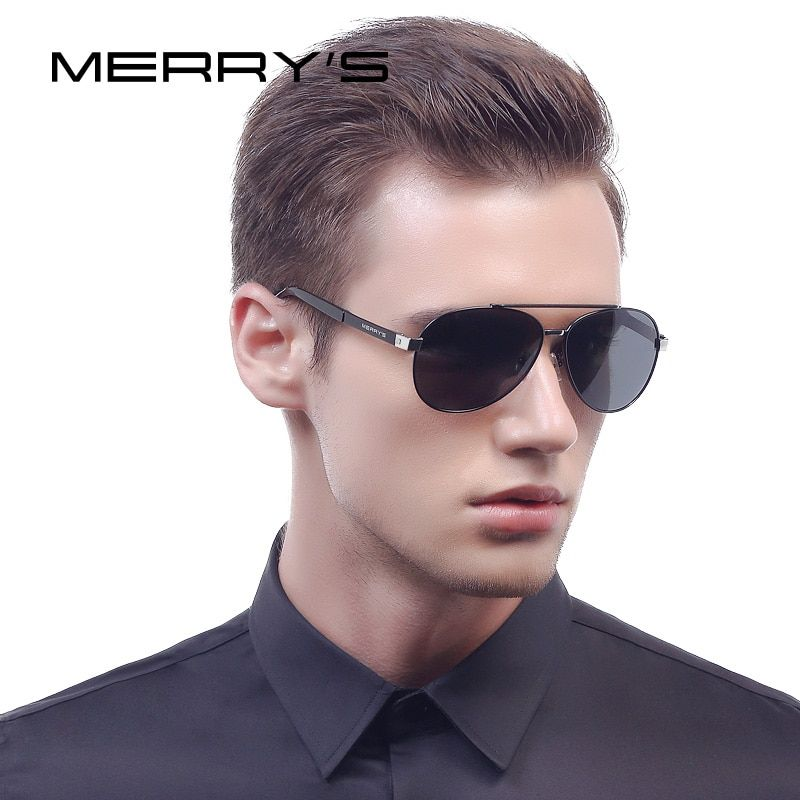 MERRY'S Männer Klassische Luftfahrt Sonnenbrillen HD Polarisierte Luxusmarke Design Aluminium Fahren sonnenbrille S'8628