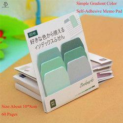 Kawaii Gradien Warna Memo Pad Lengket Catatan Perekat Diri Kali Indeks Planner Stiker Post Bookmark Sekolah