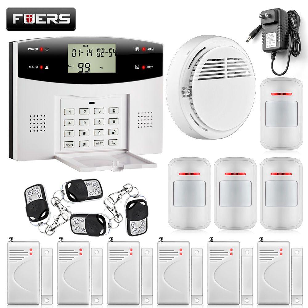 433MHZ dual-network GSM PSTN SMS House Burglar Security Alarm System fire/smoke Detector+door/window Sensor Kit Remote Control