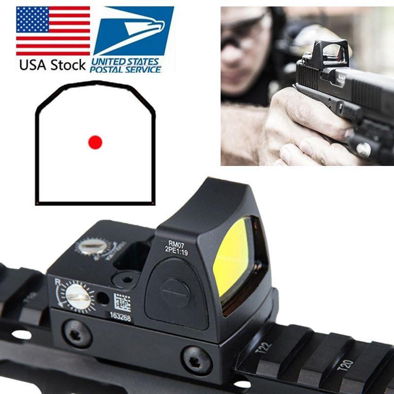 US Stock Mini RMR Red Dot Sight Collimator Glock Reflex Sight Scope fit 20mm Weaver Rail For Airsoft Hunting Rifle RL5-0004-2