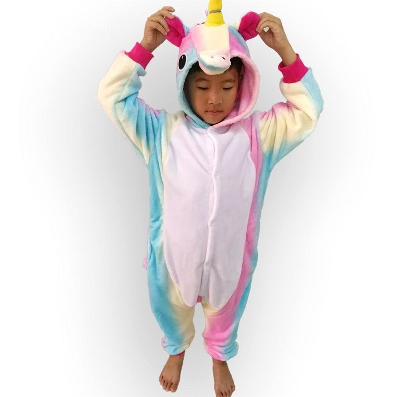 Enfants Animal Arc-En-Cosplay Licorne Pyjama Hiver Flanelle Pyjamas Femmes Onesie Capuche Pour Enfants Halloween Costume Pijama