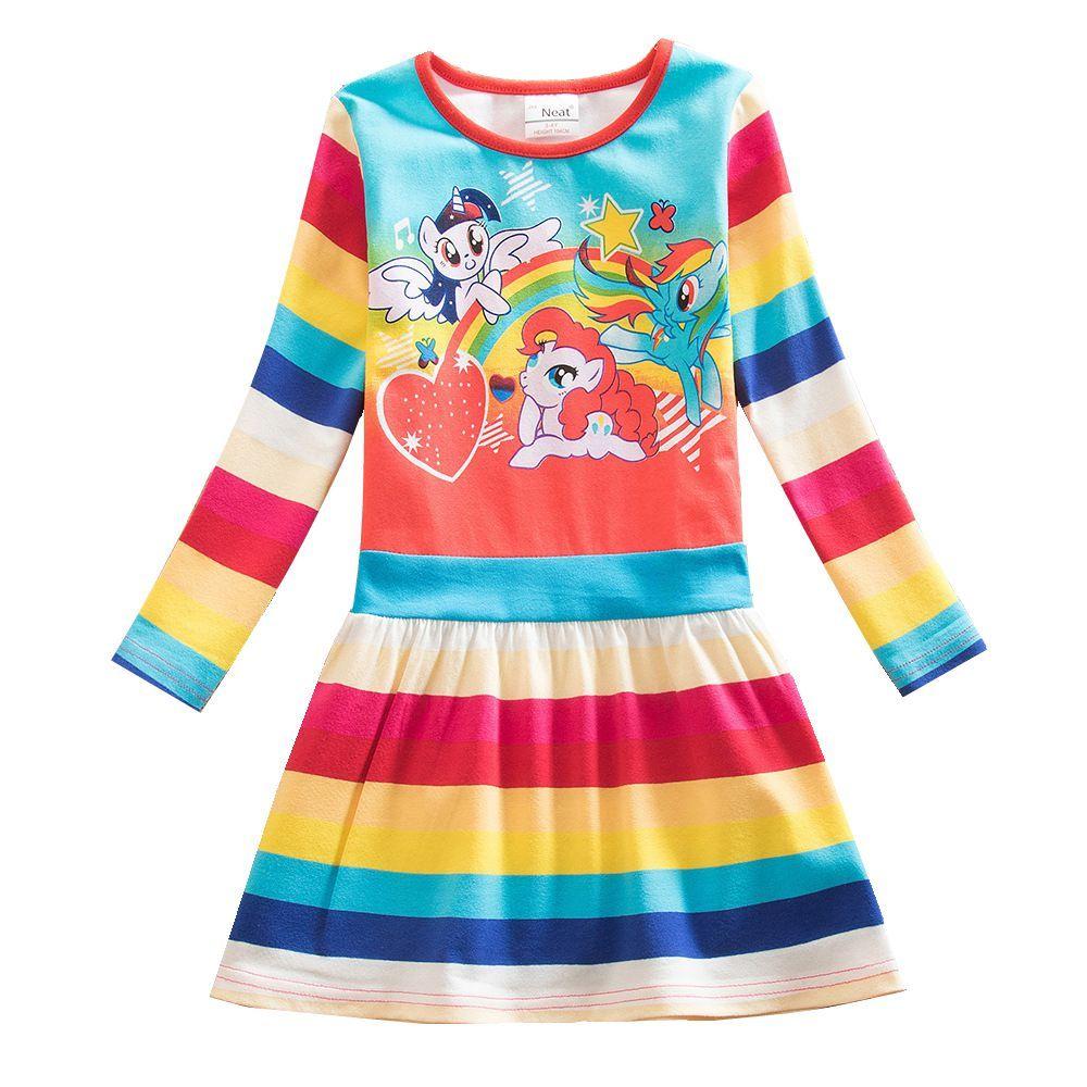 Bébé fille soigné manches longues bleu robe de mode couleur mignon dessin animé motif princesse robe fête anniversaire fille robe enfant LH9113