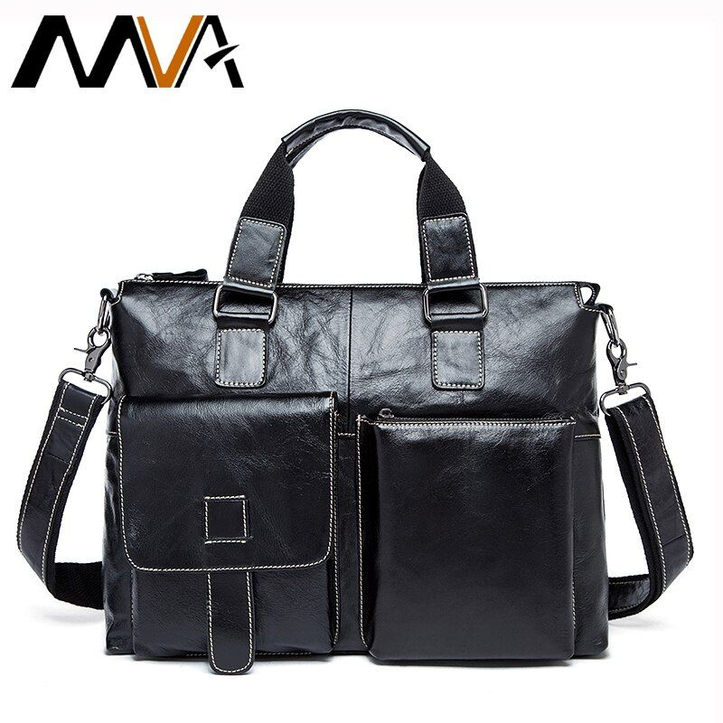 MVA Leder Laptop Tasche 14 zoll Echtes Leder Schulter Taschen Business Aktentasche Handtaschen Totes Arbeit Dokument Taschen Männer Aktentaschen