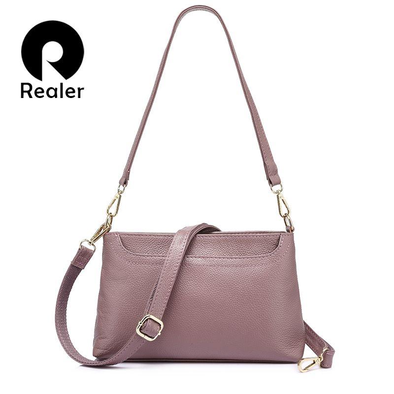 REALER women shoulder messenger bags <font><b>genuine</b></font> leather handbag female fashion crossbody bag ladies solid small tote bag purse