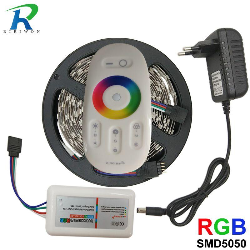 RGB LED Strip 5M 5050 SMD LED Light strip Tape Flexible Ribbon Waterproof RF Touch Controller DC 12V Power Adapter Full set Kit