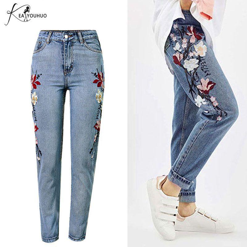 2019 Vintage décontracté femme petit ami Jeans pour femmes broderie droite maman Jeans taille haute Push Up Denim Skinny Jeans femme