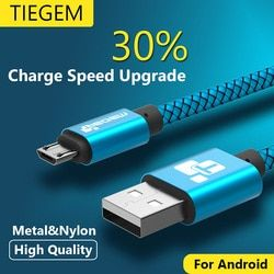 Cable micro USB 2A 1 M carga rápida nylon USB sincronización de datos teléfono móvil Android adaptador de cable del cargador para Samsung sony HTC LG cable