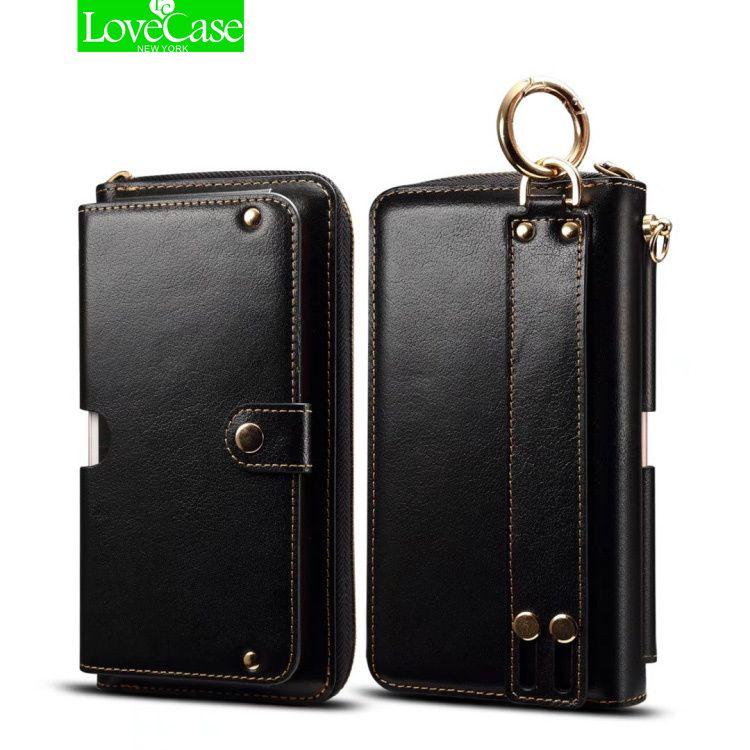 LoveCase Mode echtem leder Lanyard Flip Brieftasche Ledertasche Für iPhone 8 7 Plus 5,5 inch Handytasche handtasche Abdeckung fall