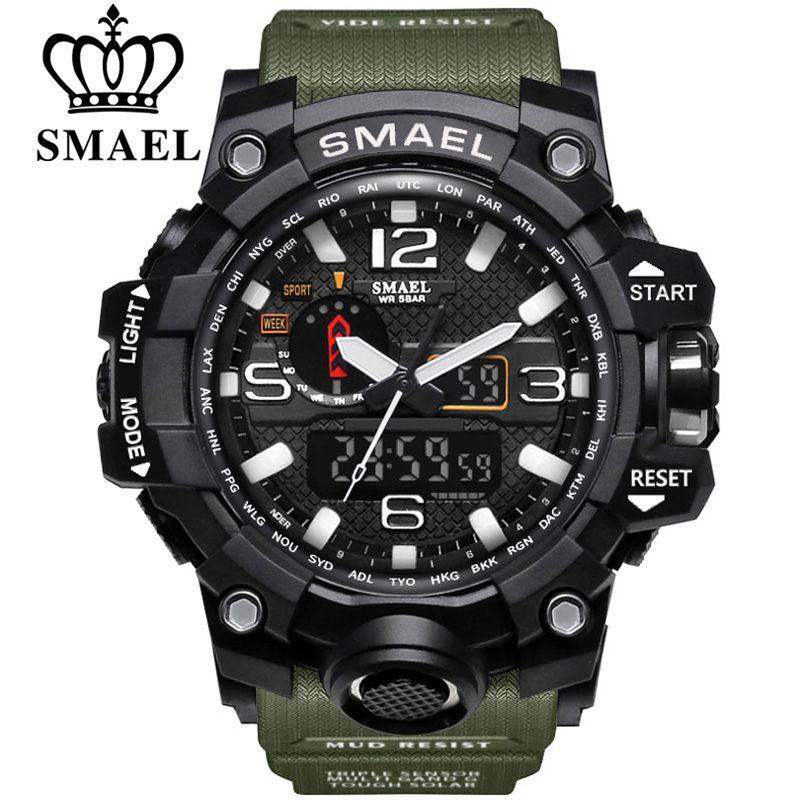 SMAEL Brand Dual Display Wristwatches <font><b>Military</b></font> Alarm Quartz Clock Male Gift LED Digital Men's Sports Watch for Men Hours relogio