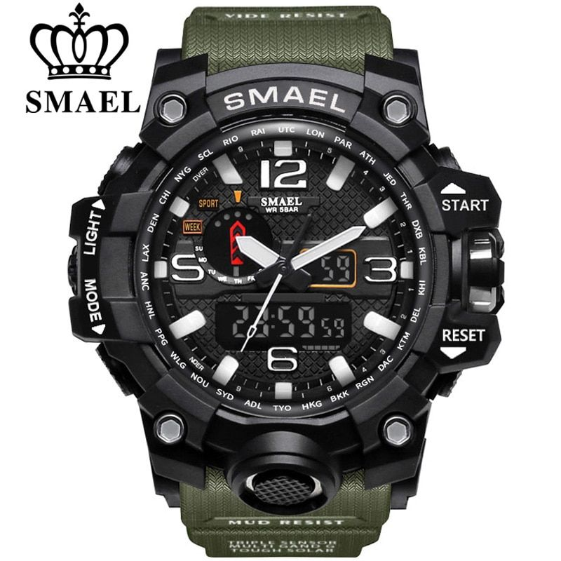 SMAEL Brand Dual <font><b>Display</b></font> Wristwatches Military Alarm Quartz Clock Male Gift LED Digital Men's Sports Watch for Men Hours relogio