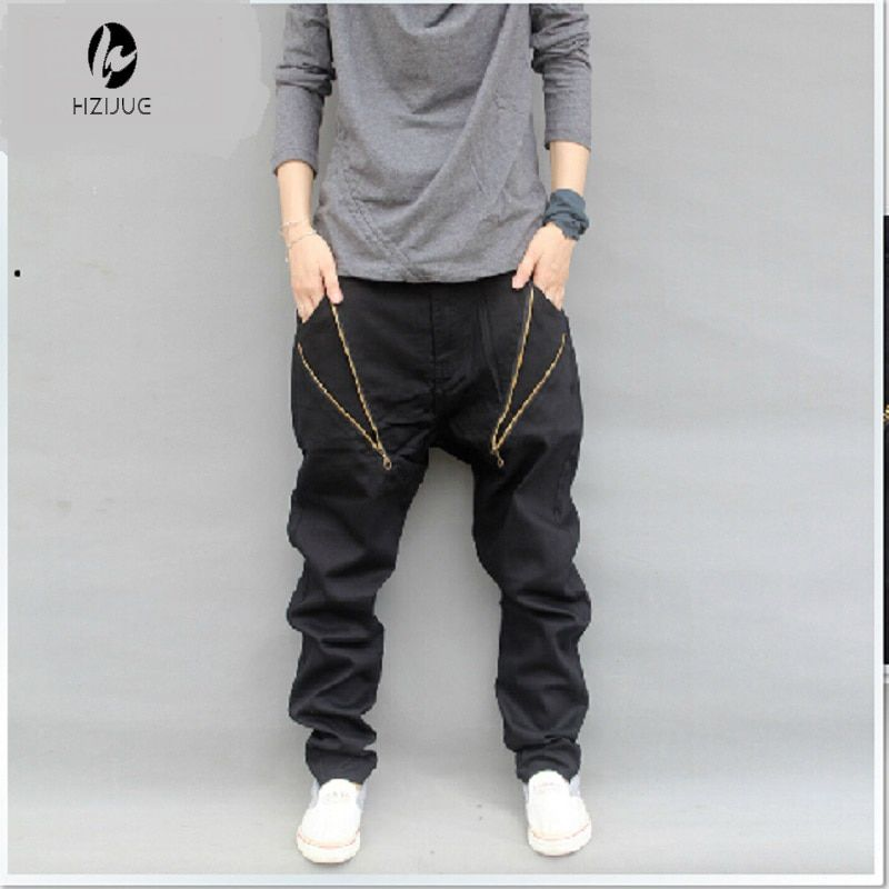 HZIJUE Herrenbekleidung Mode Lässig Hip Hop Harem Kreuz Baggy Hosen Männer Drop Gabelung Hosen Pantalones Hombre Mens Joggers
