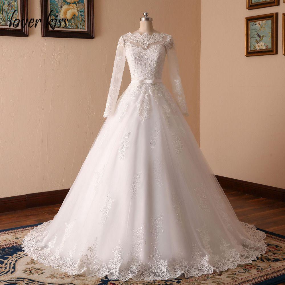 Lover Kiss Vestido De Noiva Custom Sheer Tulle Long Sleeve Wedding Dress Corset Back Lace Ball Gown Bridal Gowns For Weddings