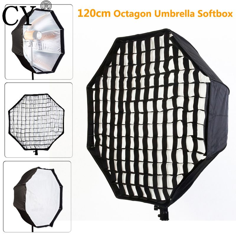 Photo Studio 120cm Octagon Umbrella Softbox Diffuser Brolly Reflector With Gird for Speedlite Flash Photography Studio Soft Box