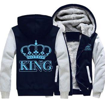 Дропшиппинг Королева Король Световой светящийся печати зима флис утепленная куртка с капюшоном пальто свитшоты на молнии влюбленных ткань