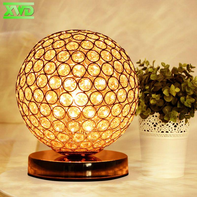 Avec LED Ampoule Moderne Décoration De Bureau Lampe de Table En Cristal E27 Support de Lampe 110-240 v Salon/Lit Chambre /table de Chevet Lumières TU50