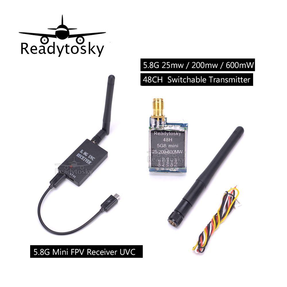 Newest Mini 5.8G FPV Receiver UVC Video Downlink OTG + Micro 5.8G 25mw / 200mw / 600mW 48CH adjustable / Switchable Transmitter