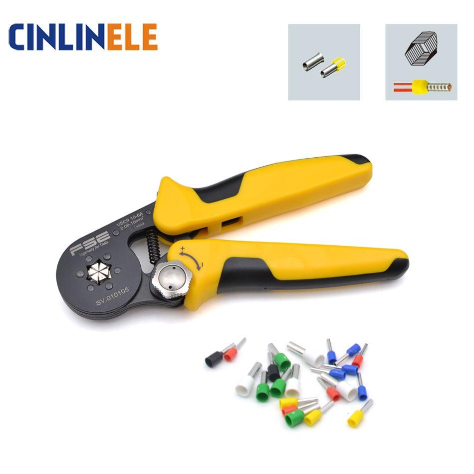 HSC9 6-10 0.25-10mm 24-7AWG Adjustable Precise Hexagon Tube Bootlace Terminal Crimping Pliers Crimp Hand Tools Ferramentas