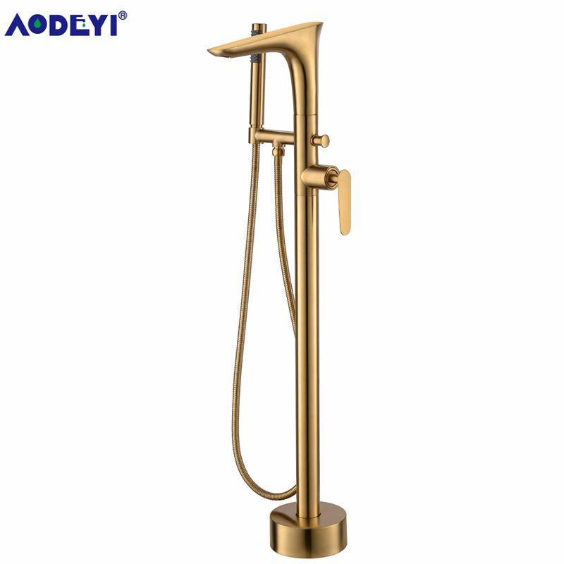 Freistehende Bad Auslauf Dusche Boden Montieren Messing Dusche set Mixer Ventil 2 Funktion Gebürstet Gold Badewanne Füllstoff Mischbatterien