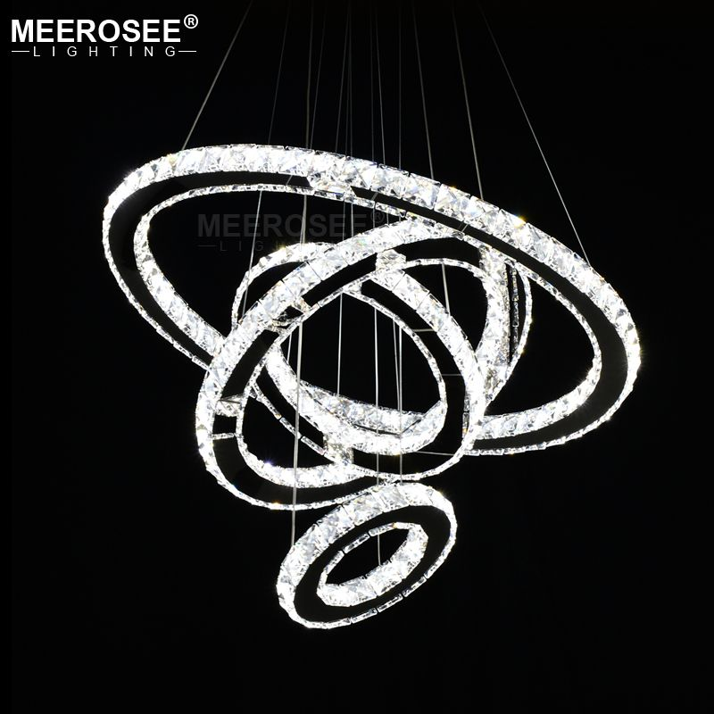 Mirror Stainless Steel Crystal Pendant Diamond Lighting Fixtures 4 Rings led Pendant Lights Cristal Dinning Hanging Lamp