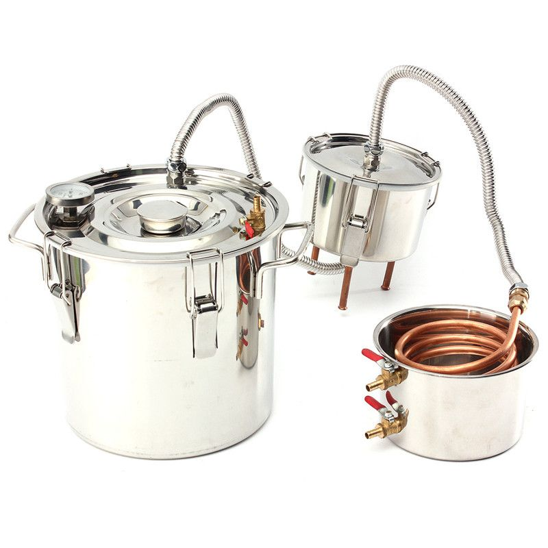 3GAL 12L Alcohol Moonshine Copper Ethanol Alcohol Water Distiller Boiler+Thumper Keg House Home Wine Brew Bar Tools
