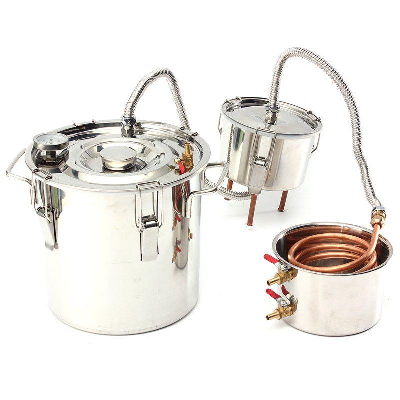3GAL 12L Alcohol Moonshine Copper Ethanol Alcohol Water Distiller Boiler+Thumper Keg House Home Wine Brew Bar Tools