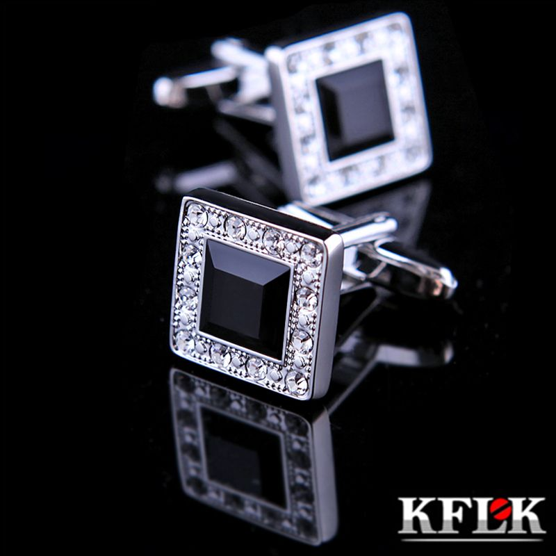 KFLK Jewelry fashion shirt cufflinks for mens Brand cuff buttons Black Crystal cuff links High Quality abotoaduras Free Shipping