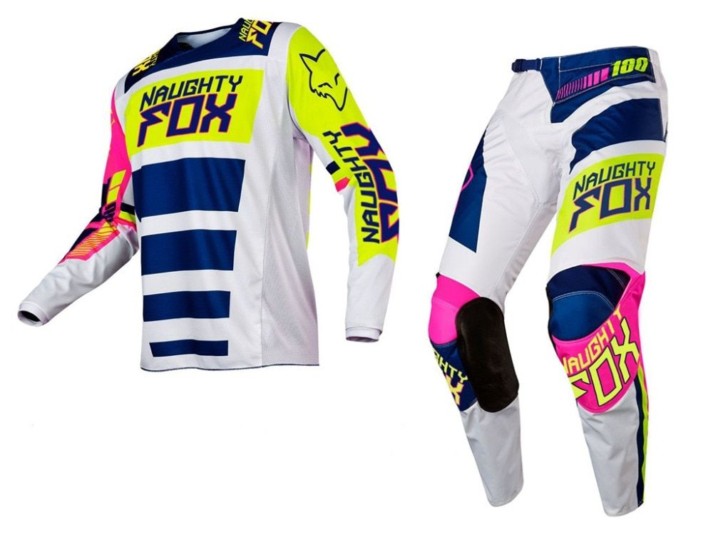 Racing Combo MX 180 Falcon Nirv White FLO Yellow Jersey Pants Motocross Gear off-road Racing Suit