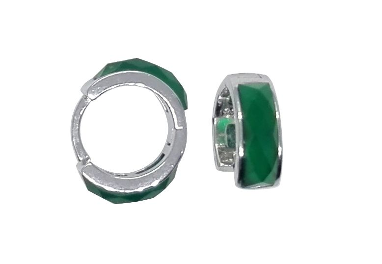 100% real sólido 925 Pendientes con ágata verde oído hebilla Pendientes joyería para las mujeres yh1023