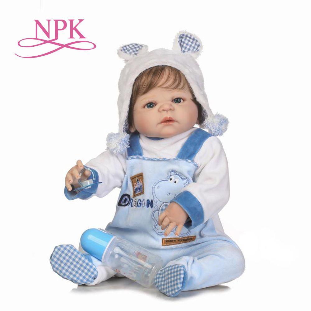NPK 55cm lifelike reborn doll soft real gentle touch boy doll full vinyl silicone popular doll for children Birthday Gift