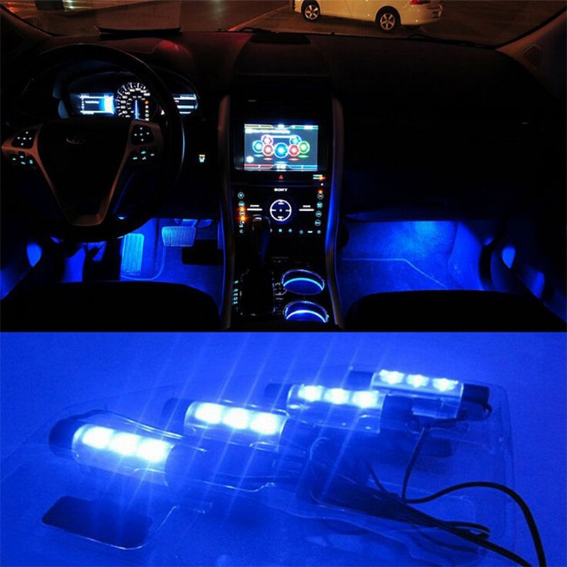 High Quality Blue 4in1 12V 4x 3LED car Interior light Decorative Atmosphere Lights Car Styling Lamp For Ford Focus 2