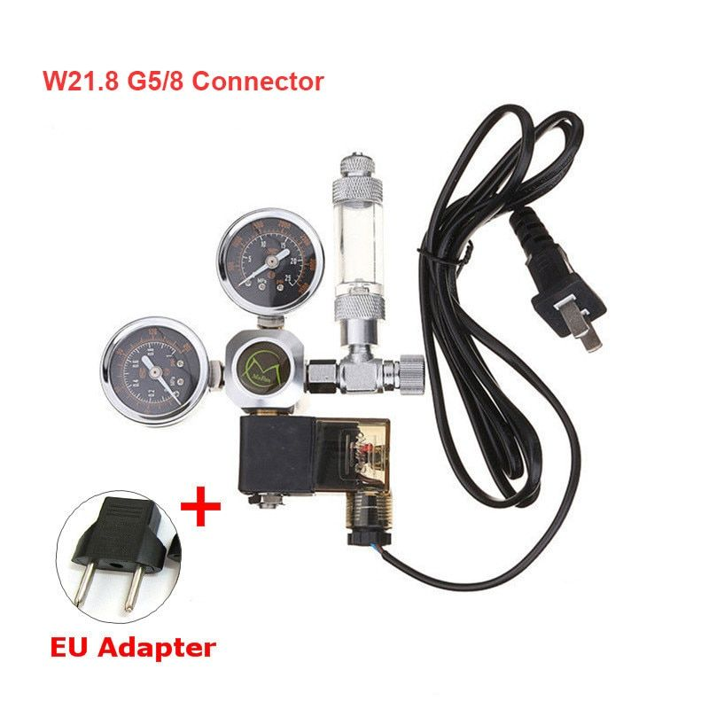 Aquarium CO2 Regulator W21.8 G5/8 220V Magnetic Solenoid Check Valve Aquarium Bubble Counter Fish Tank Tool CO2 Control