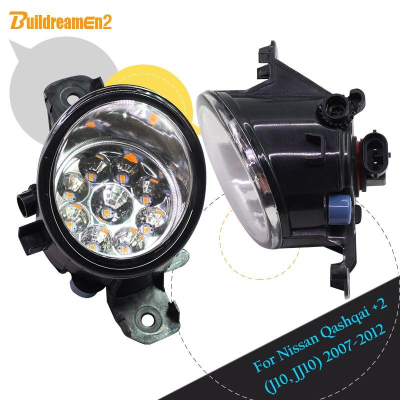 Buildreamen2 For Nissan Qashqai +2 (J10, JJ10) 2007-2012 1 Pair Car Styling H8 H11 Fog Light LED Light DRL Daytime Running Light