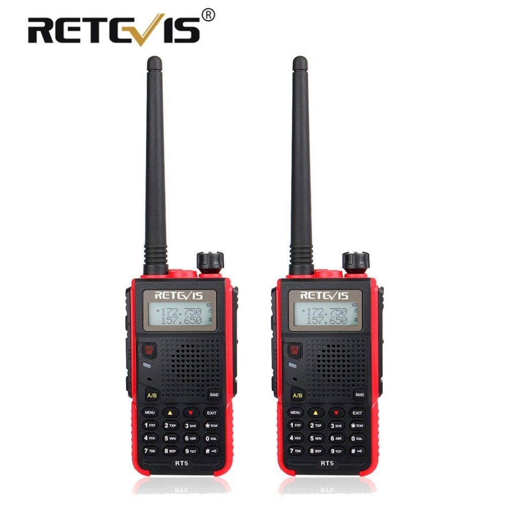 2 pcs Portable Walkie Talkie Pair Retevis RT5 7W 128CH VHF UHF Dual Band VOX FM Radio Station cb Radio Transceiver Walkie-Talkie