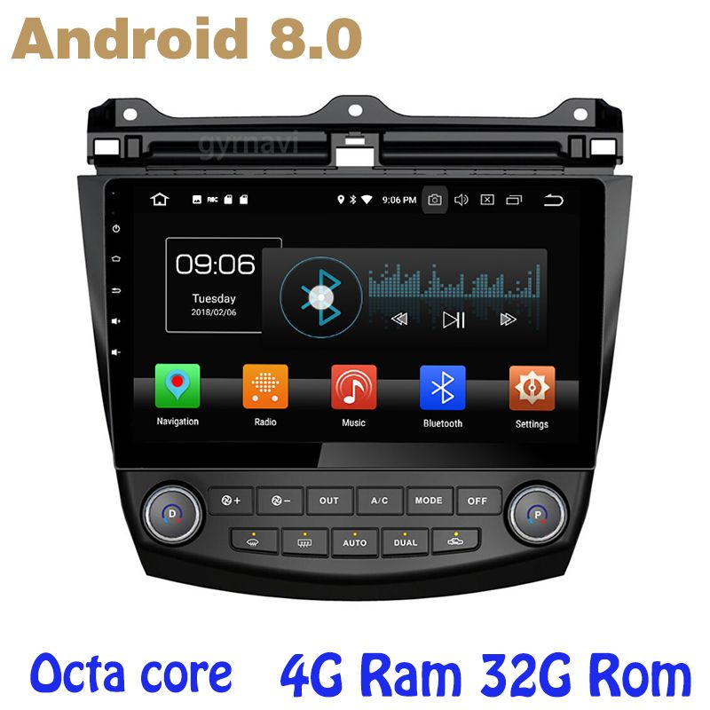 Octa core PX5 android 8.0 Car GPS radio for honda accord 2003-2007 with 4G RAM no dvd WIFI 4G bluetooth mirror link radio