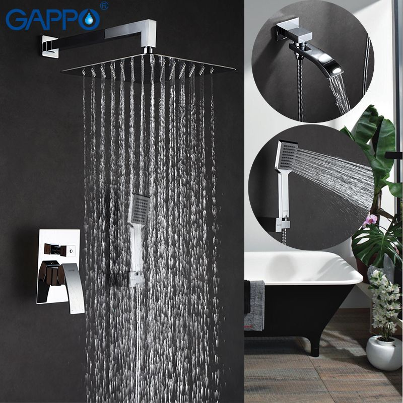 GAPPO Wall bathroom shower faucet brass set bronze rainfall shower mixer tap chrome bathtub faucet tap waterfall Bath Showers