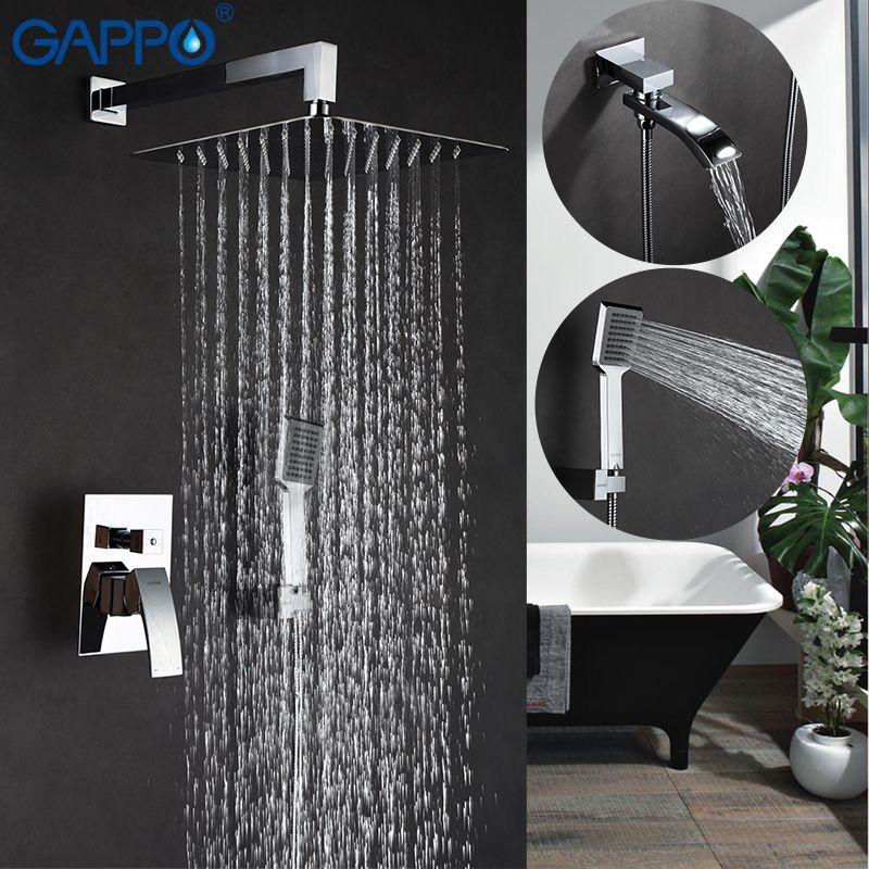 GAPPO Wall bathroom shower faucet brass set <font><b>bronze</b></font> rainfall shower mixer tap chrome bathtub faucet waterfall Bath Shower GA7107