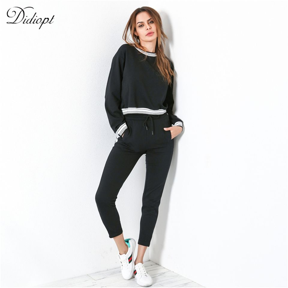Didiopt 2018 Young Sweatshirt And Sport Pants Women's Suit For Specifically Black Women's Tracksuit Tight Body S2495B