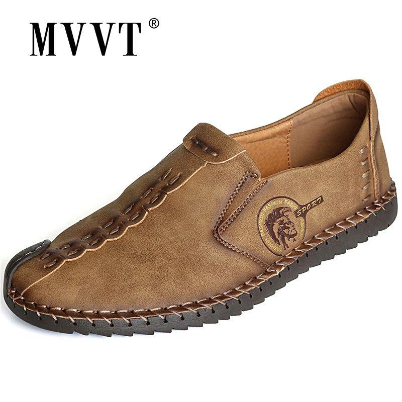 Classique confortable hommes chaussures décontractées mocassins hommes chaussures qualité Split cuir chaussures chaussures plates pour homme offre spéciale mocassins chaussures grande taille