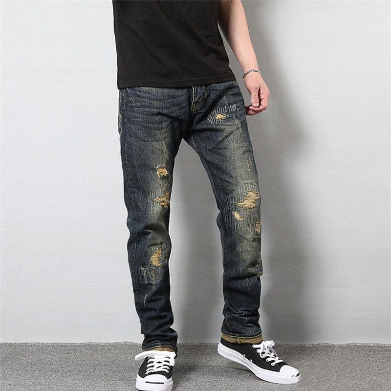 Japanese Style Fashion Men's Jeans High Quality Cotton Straight Fit Destroyed Jeans Men Broken Pants Vintage Ripped Jeans Homme