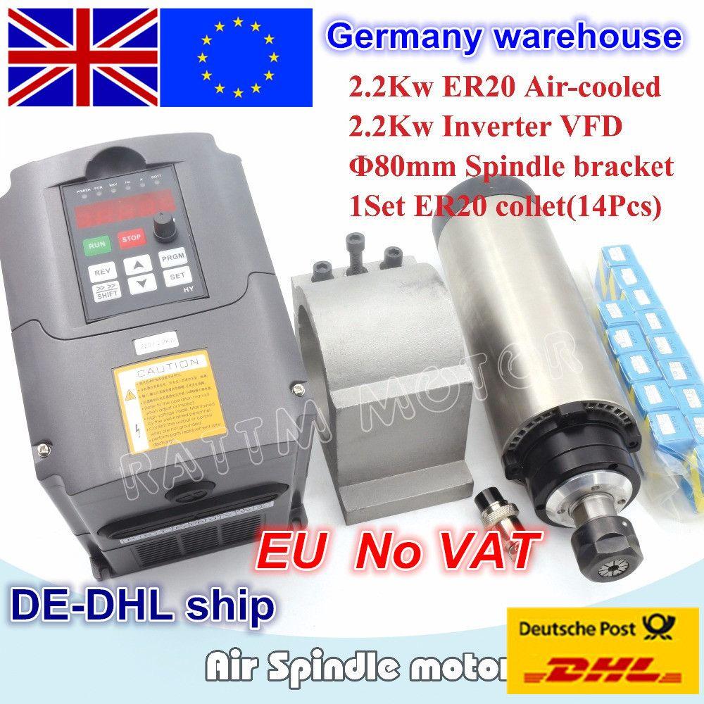 EU free VAT 2.2KW Air-cooled spindle motor ER20 & 2.2kw Inverter VFD 220V & 80mm aluminium Clamp & ER20 collet(14pcs) CNC Router