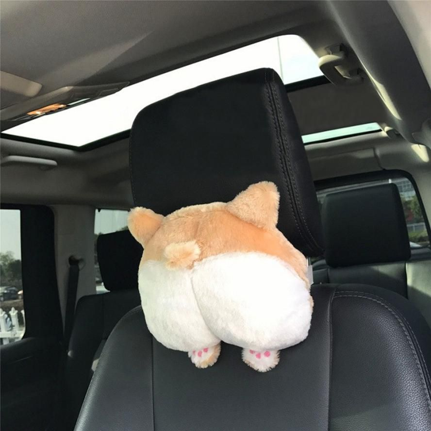 New Arrival Novelty Corgi Bottom Car Seat Neck Pillow Dog Buttocks Headrest Cushion Plush Toy dropshipping no20