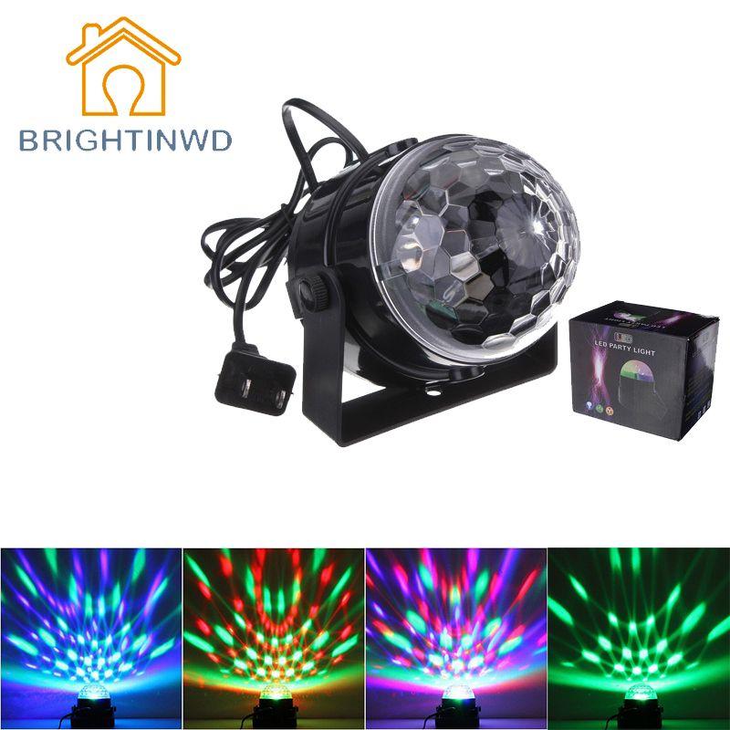 Мини-популярные rgb светодиодный кристалл магический шар сценический эффект Освещение лампа вечерние диско свет 100-240 В ЕС и США разъем soundlights...