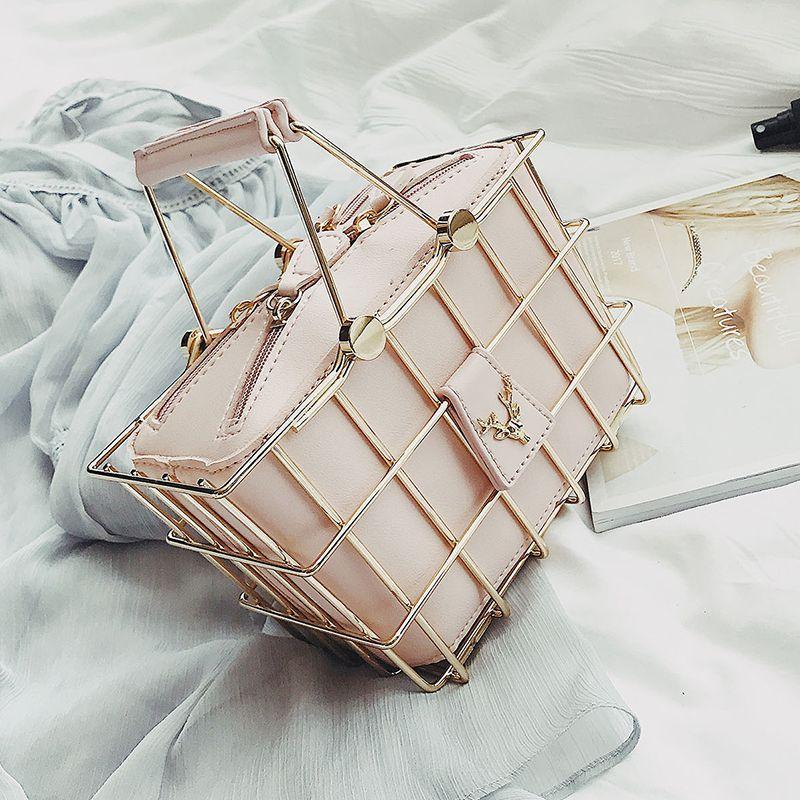 Fashion Designer Women Handbags 2018 New High-quality PU Leather Women bag Iron Basket Square bag Chain Shoulder Messenger Bag