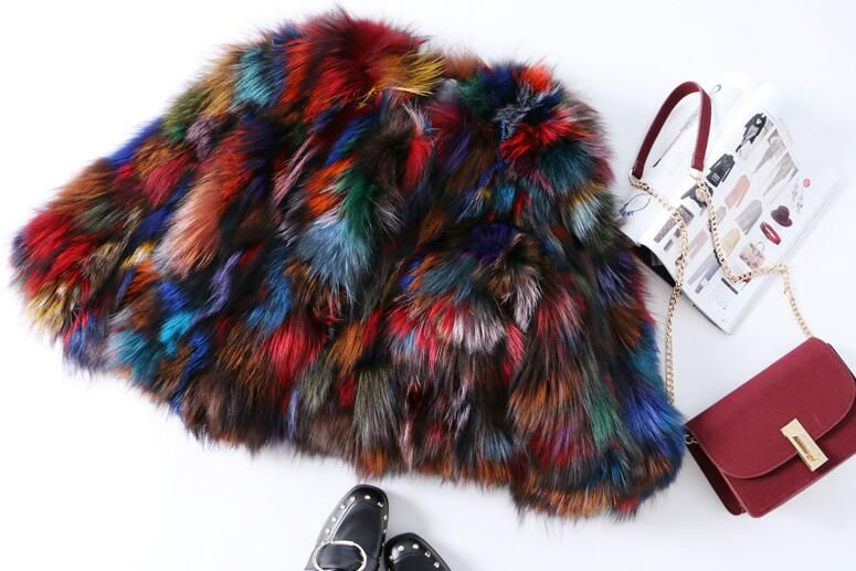 2018 autumn winter new arrival streetwear Natural Fox Fur coats ,sexy multi colorful real fur short jacket For women